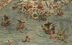 The southern coast of Iceland on the Carta Marina (1539) by Olaus Magnus. It shows trading ships from different countries and cities (Hamburg, Bremen, Lübeck), merchant booths, harbours, stockfish and sulphur.