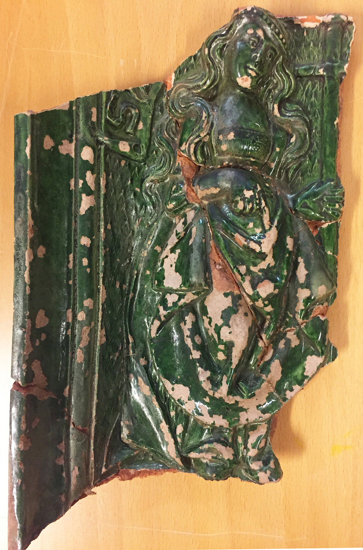 Stove Tile Produced In The Area Between Lbeck And Bremen With Relief Of Probably A Female Saint Photograph By Natascha Mehler